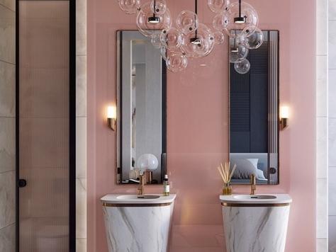"""Дизайн интерьера ванной в Екатеринбурге """"Розовые стильные ванные комнаты"""""""